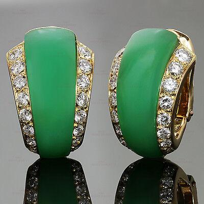 Exquisite VAN CLEEF & ARPELS Diamond Green Chrysoprase 18k Yellow Gold Earrings