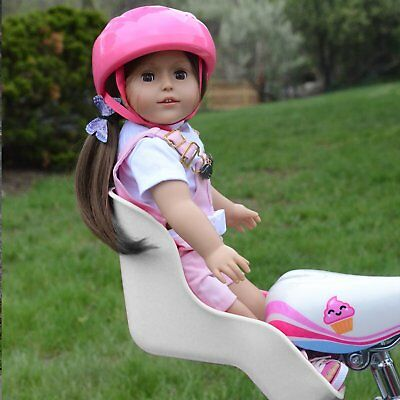 White Doll Bike Seat with Decorate Yourself Stickers for 18 inch Toy Dolls