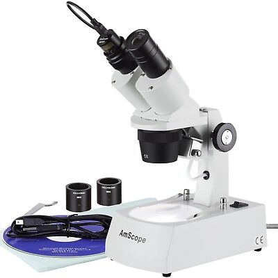 Amscope 10x-20x-30x-60x Stereo Microscope With 1.3mp Usb Camera