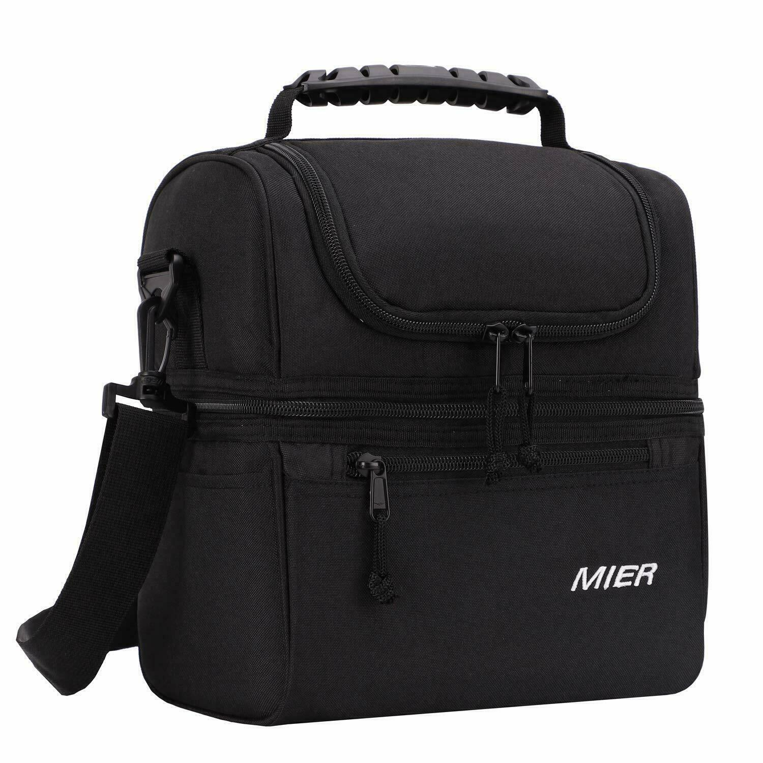 MIER 2 Compartment Lunch Bag for Men Women Leakproof Insulat