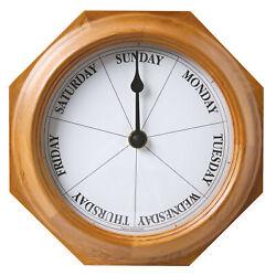 Day of Week Wall Clock in Oak - Retirement Gift - Dementia Alzheimer's Aid