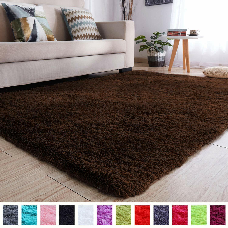 Large Brown Shag Faux Fur Carpet Rug Plush Shaggy Luxury Acc