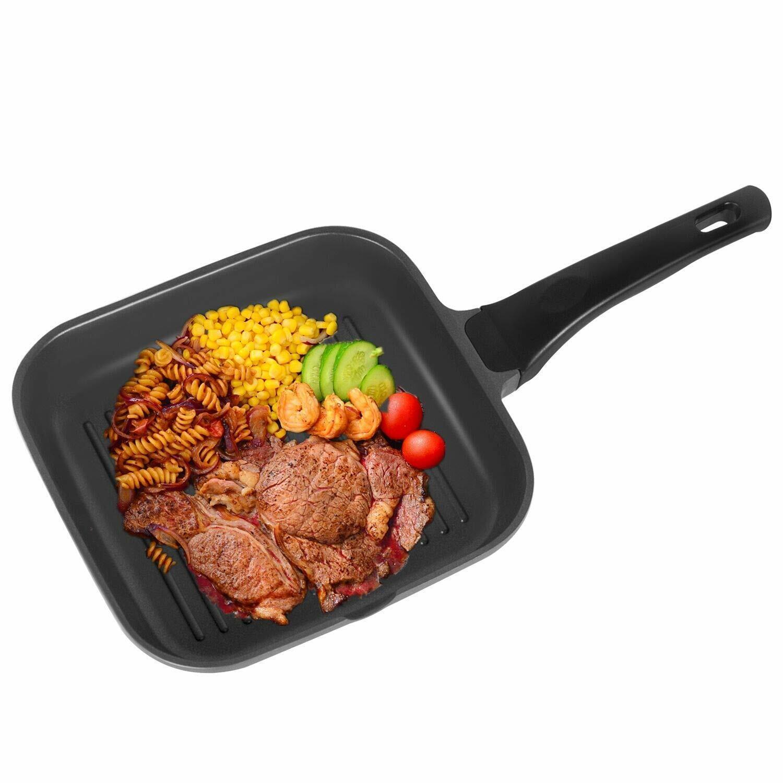 24cm Grillpfanne Steakpfanne Bratpfanne Antihaft für Gas Induktions u. E-Herd