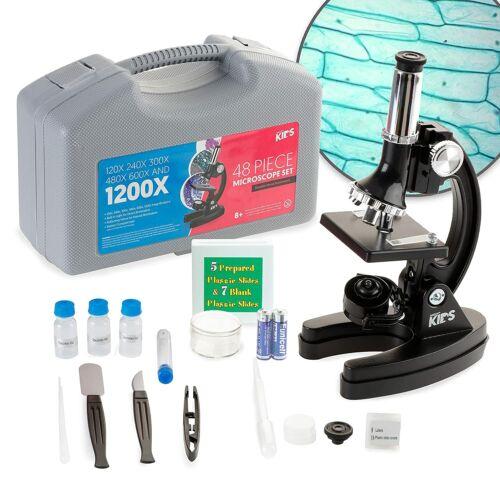 AMSCOPE 48pc Starter 120x-1200x Compound Microscope Science Kit for Kids (Black)