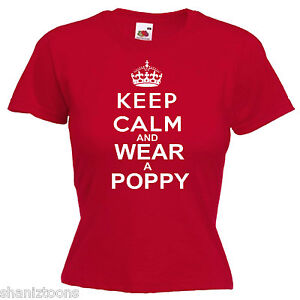 Remembrance-Day-Poppy-Ladies-Lady-Fit-T-Shirt-13-Colours-Size-6-16