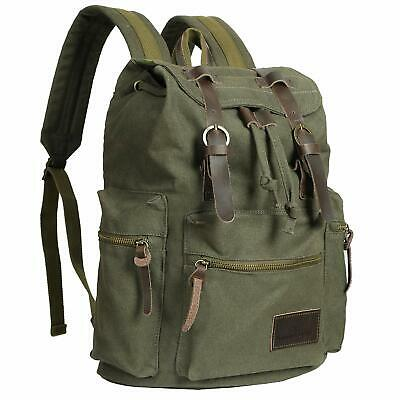 Vintage Canvas Backpack Bag Travel Hiking Coffee Rucksack Casual Shoulder Bag Bag Canvas Coffee
