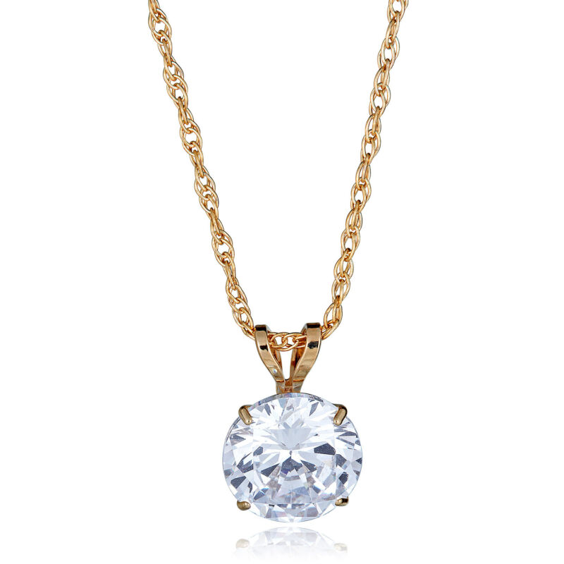 """10K Gold 8mm Solitaire Cubic Zirconia CZ Pendant Necklace with 18"""" Chain"""