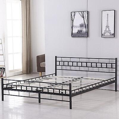 Queen Wood Slat Bed Frame Platform Headboard Home Bedroom Furniture New