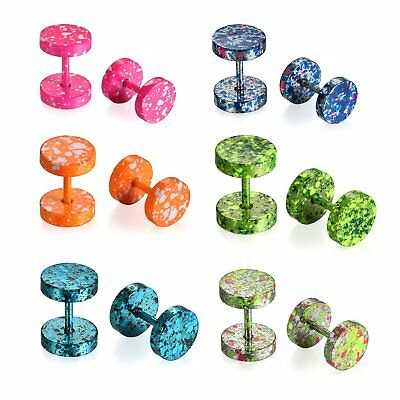 12pcs Stainless Steel Tunnel Plug Camouflage Mens Women Earrings Screw Back - Camouflage Jewelry