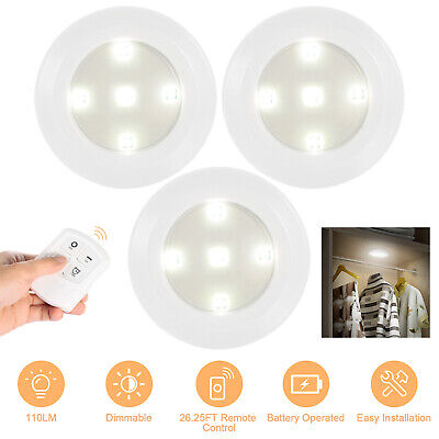 3Pcs  LED Cabinet Light Wireless Remote Control Battery Operated Puck Light US Battery Operated Puck Lights