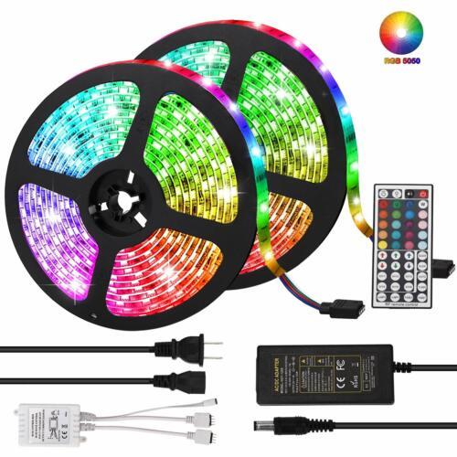 10M 5050 RGB LED Strip with 44keys IR Remote Controller +12V