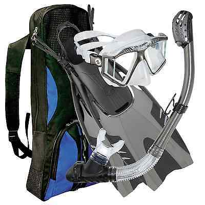 Aqua Lung Gunmetal Panoramic View Recife LX Pivot Snorkel Set, Scuba Diver: L/XL