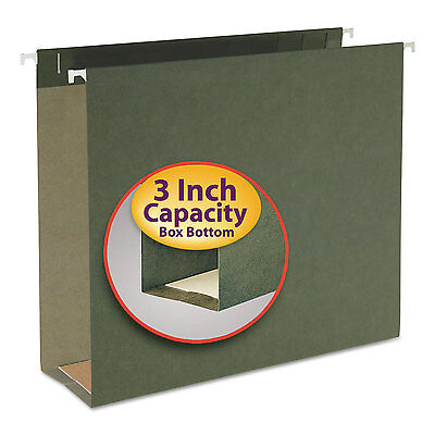 Smead Three Inch Capacity Box Bottom Hanging File Folders Letter Green 25box