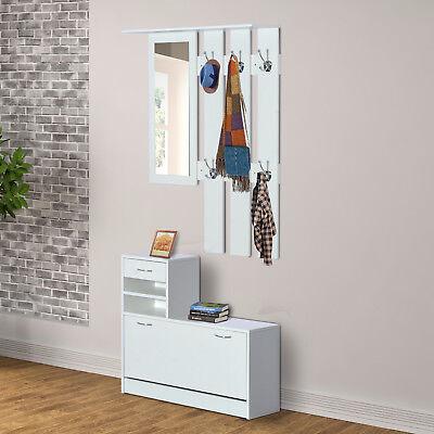 3 in 1 Garderoben Set Garderobenpaneel Schuhschrank mit Spiegel 2 tlg Weiß