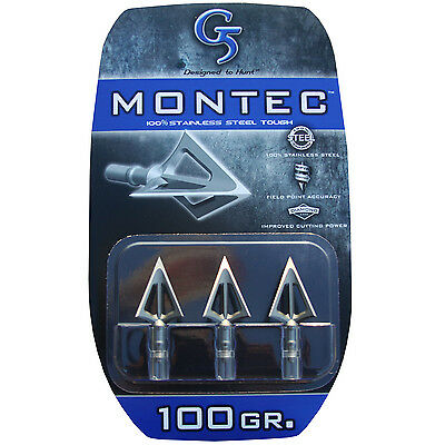 "G5 Broadhead Montec 3pk 100 Grain 1 1/16"" Cut #00112 Stainless Steel for sale  Fredonia"