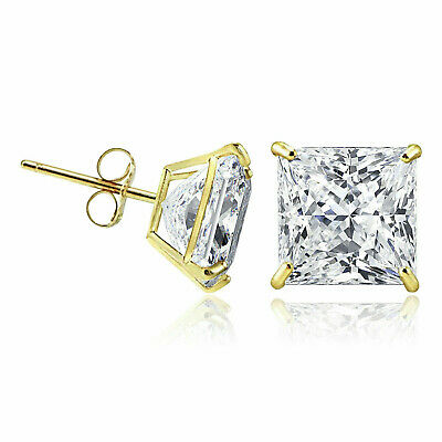 14K Solid Yellow Gold Square Princess Cubic Zirconia Push Back Stud Earrings 14k Cubic Zirconia Earring Princess Stud