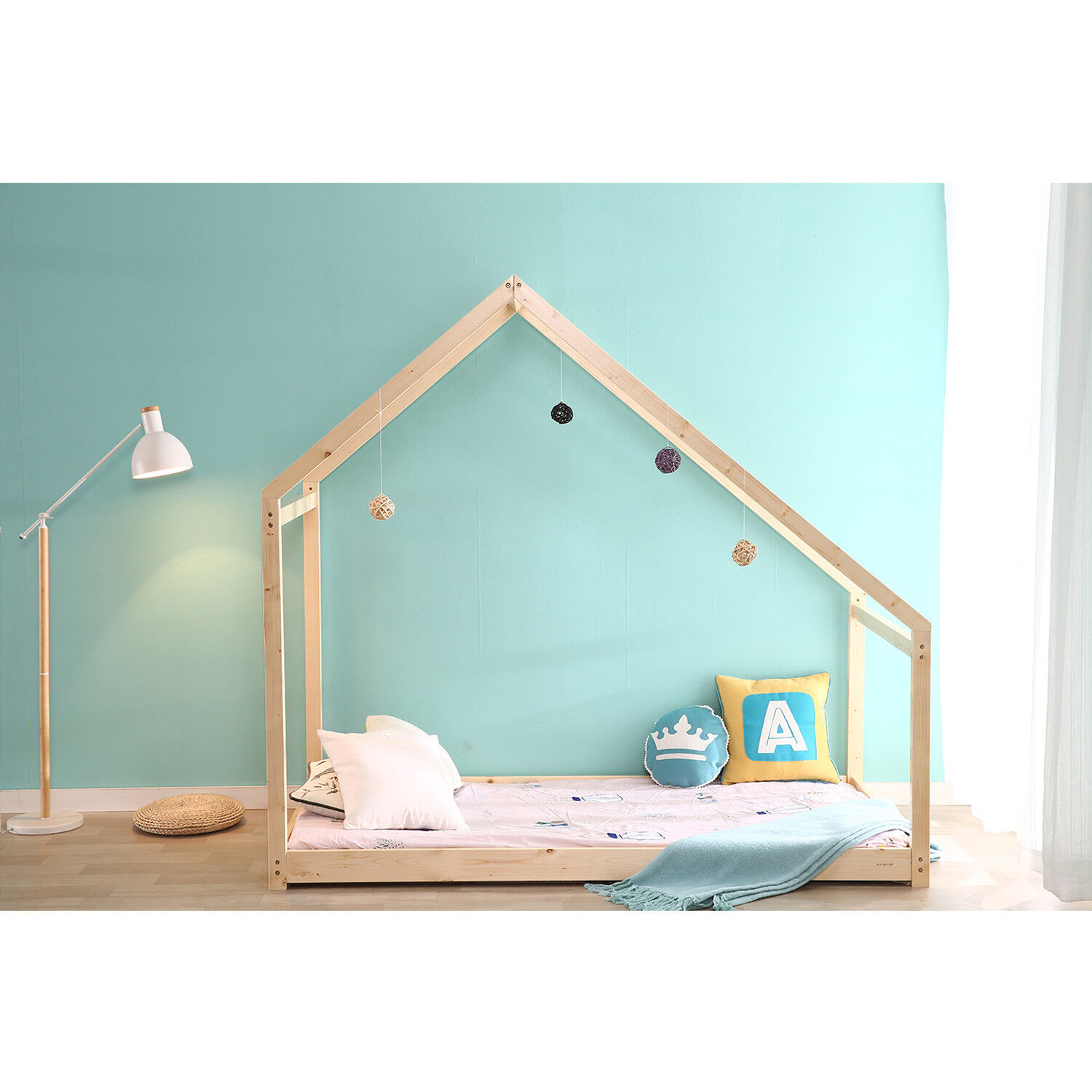 Details about Children House Frame Bed Tent Wood Kids Floor Bed Bedroom  Furniture Baby Safe