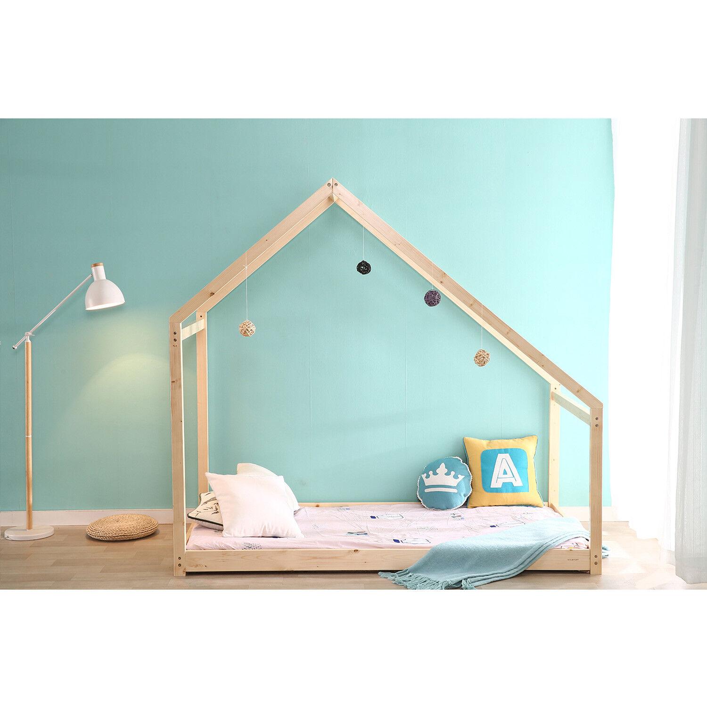 Details About Children House Frame Bed Tent Wood Kids Floor Bed Bedroom  Furniture Baby Safe