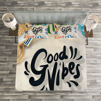 good vibes quilted bedspread and pillow shams