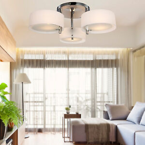OKU Modern 3 White Shades Flushmount Ceiling Light Fixture Chandelier Lighting