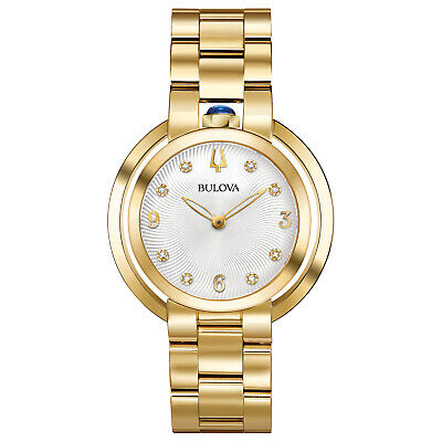 Bulova Quartz Women's Rubaiyat Sapphire Gold Tone White Dial 35mm Watch 97P125