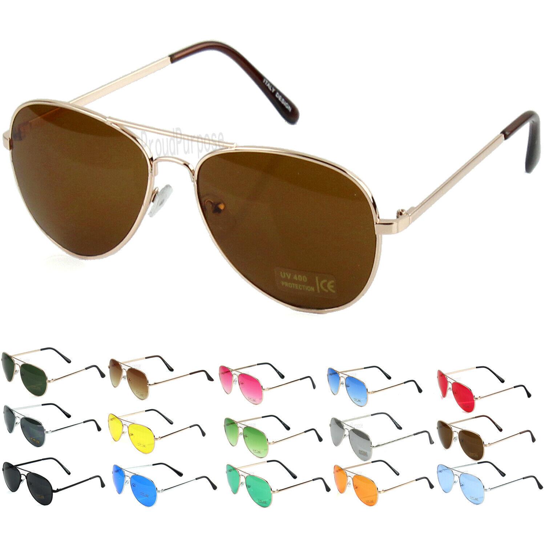 Gold Brown Aviator Pilot Style Sunglasses Classic Vintage Retro Metal Glasses