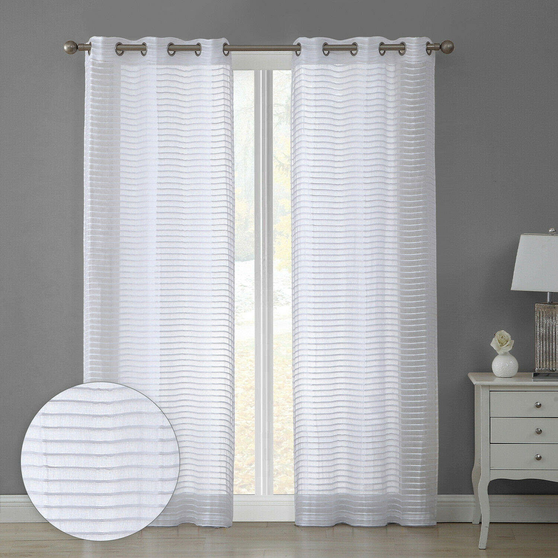 84î Sheer Striped 2-Panel Pair Window Treatment Curtains Grommet Drapes, White Curtains & Drapes