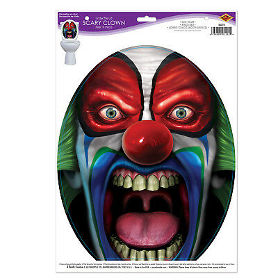 Halloween HAUNTED BATHROOM Under The Lid Scary IT Clown CLING toilet DECORATION