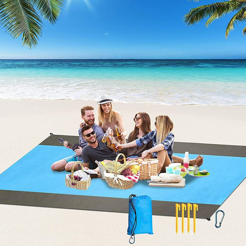 Beach Blanket Sandproof Waterproof 79''×83'' Large Beach Ma