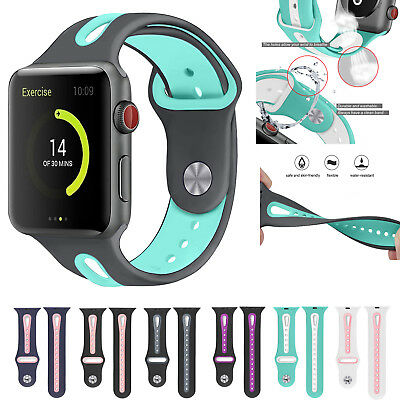 - Silicone Sport Band Bracelet for Apple Watch iWatch 4/3/2/1 Replacement Strap US