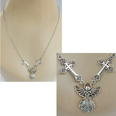 Ladies double strand cable chain necklace with Y style longer strand with blue carved stone cross