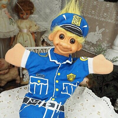 """Vintage 80s 90s 10"""" Russ TrollHand Puppet Doll - Police - Yellow Hair"""