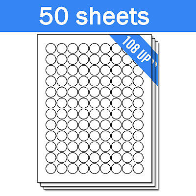 Round Circle Dot 34 Stickers Labels For Laser Ink Jet Printers 5400 Sheets