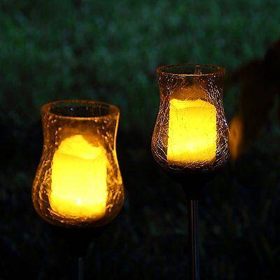 Glass Garden Candle - 2 Solar Light Flickering Candle Garden Stake Glass Crackle Solar Light Yard