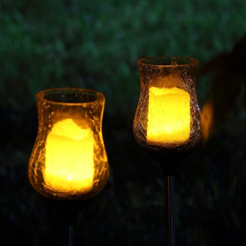 Led Landscape Lights Flickering: 2 Solar Light Flickering Candle Garden Stake Glass Crackle