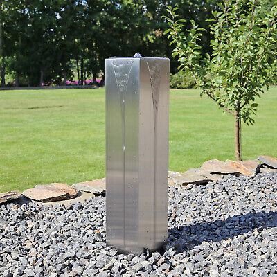 Edelstahl Säulenbrunnen Gartenbrunnen Springbrunnen eckig mit LED Beleuchtung