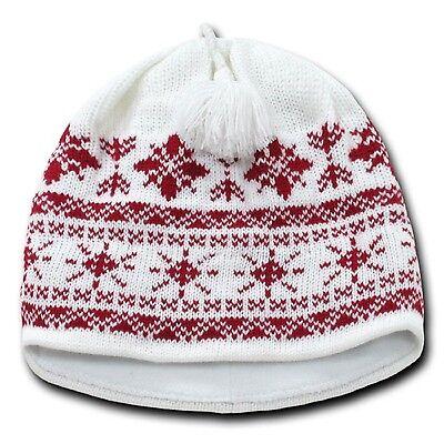 White & Red Snowflake Nordic Beanie Hat Pom Ski Snowboard Winter Warm Knit Cap Snowflake Knit Hat