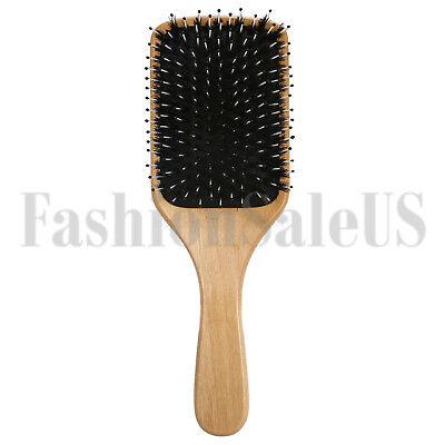 Fashion Wood Natural Boar Bristle Hair Brush Wooden Paddle Cushion Hairbrush Wood Boar Bristle Hair Brush