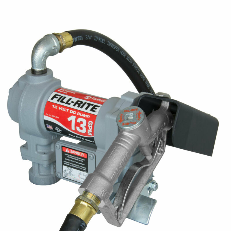Fill-Rite SD1202G 12 Volt DC Motor Fuel Transfer Pump with Hose & Manual Nozzle