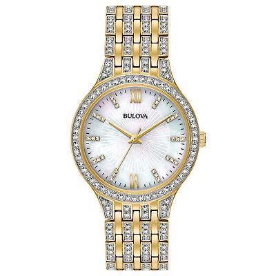 Bulova Women's Swarovski Quartz Crystal Accents Gold-Tone 32mm Watch 98L234