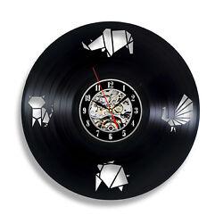 Modern wall decor art black clock home decorations abstract vinyl record