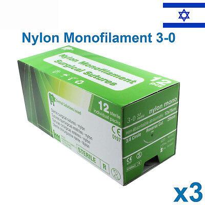3x Nylon 30 Emergency First Aid Suture Home Wound Treat Trauma 12pcs