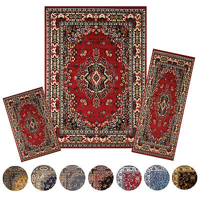 Traditional Medallion Persien 3 Pcs Area Rug Oriental Bordered Runner Mat - Runner Carpet