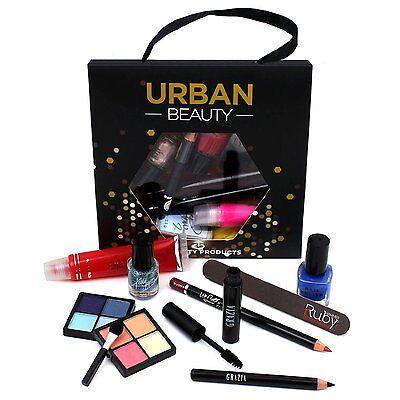 Urban Beauty 10 Piece Make Up Set Bag Bundle Nail Polish Eye Shadow Mascara