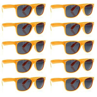grinderPUNCH Orange Sunglasses 10 Bulk Pack Lot Neon Color Party Glasses Wedding