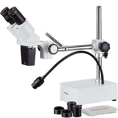Amscope 10x-15x Binocular Led Stereo Microscope Boom Arm With Gooseneck Light