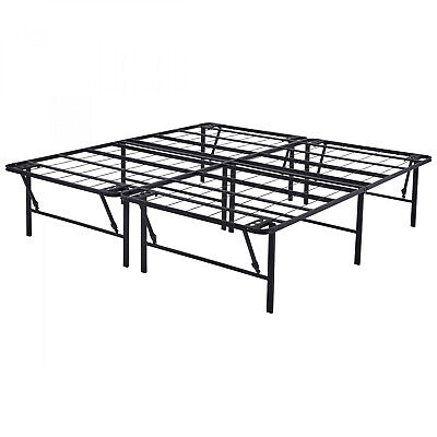 High Profile KING Size Folding Steel Bed Frame, 18 Inch Tall Bedstead -