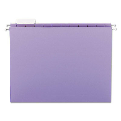 Smead Hanging File Folders 1/5 Tab 11 Point Stock Letter Lavender 25/Box 64064