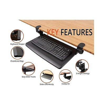 Keyboard Tray Under Desk Slide Out Adjustable Clamp On Retractable Home Office