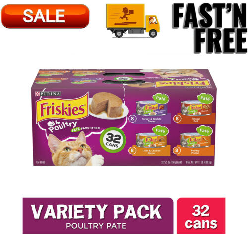 Friskies Pate Wet Cat Food Variety Pack, Poultry Favorites, 5.5 oz (32 Cans)